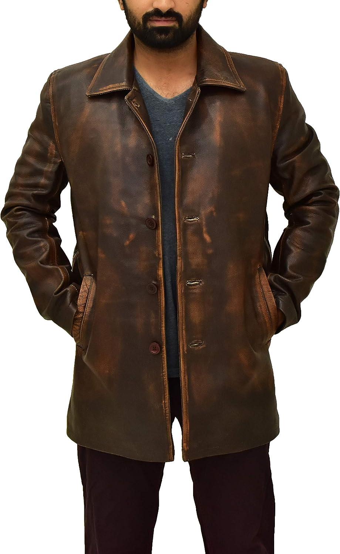 Men's Super Natural Distresses Copper Brown Vintage Cowhide Leather Coat Jacket