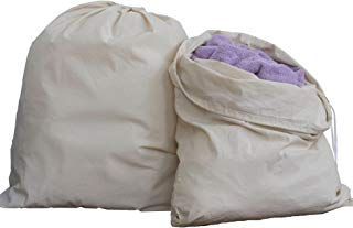 """HomeLabels Cotton Laundry Bag - 2 Pack, Natural, 30""""x 40"""" - Commercial Grade 100% Cotton, Designed Heavy Duty Use, College Laundry Bags, Laundromat Household Storage"""