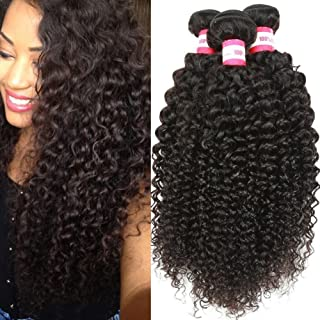 B&P Virgin Brazilian Curly Hair Weave 3 Bundles 9A Unprocessed Kinky Curly Weave Human Hair Natural Black Color Remy Hair 12 10 8inches