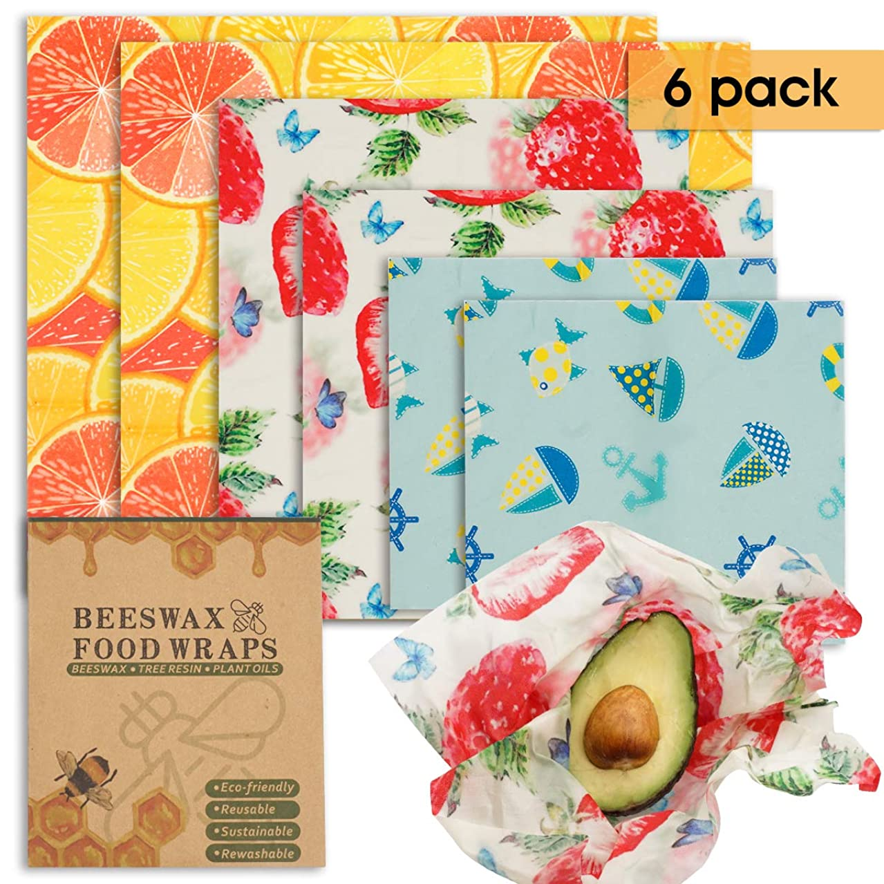 Beeswax Wraps 6 Packs Reusable Food Storage Wraps and Organic Bowl Cover Plastic Free Eco Friendly Plastic Alternative (2 Small, 2 Medium, 2 Large)