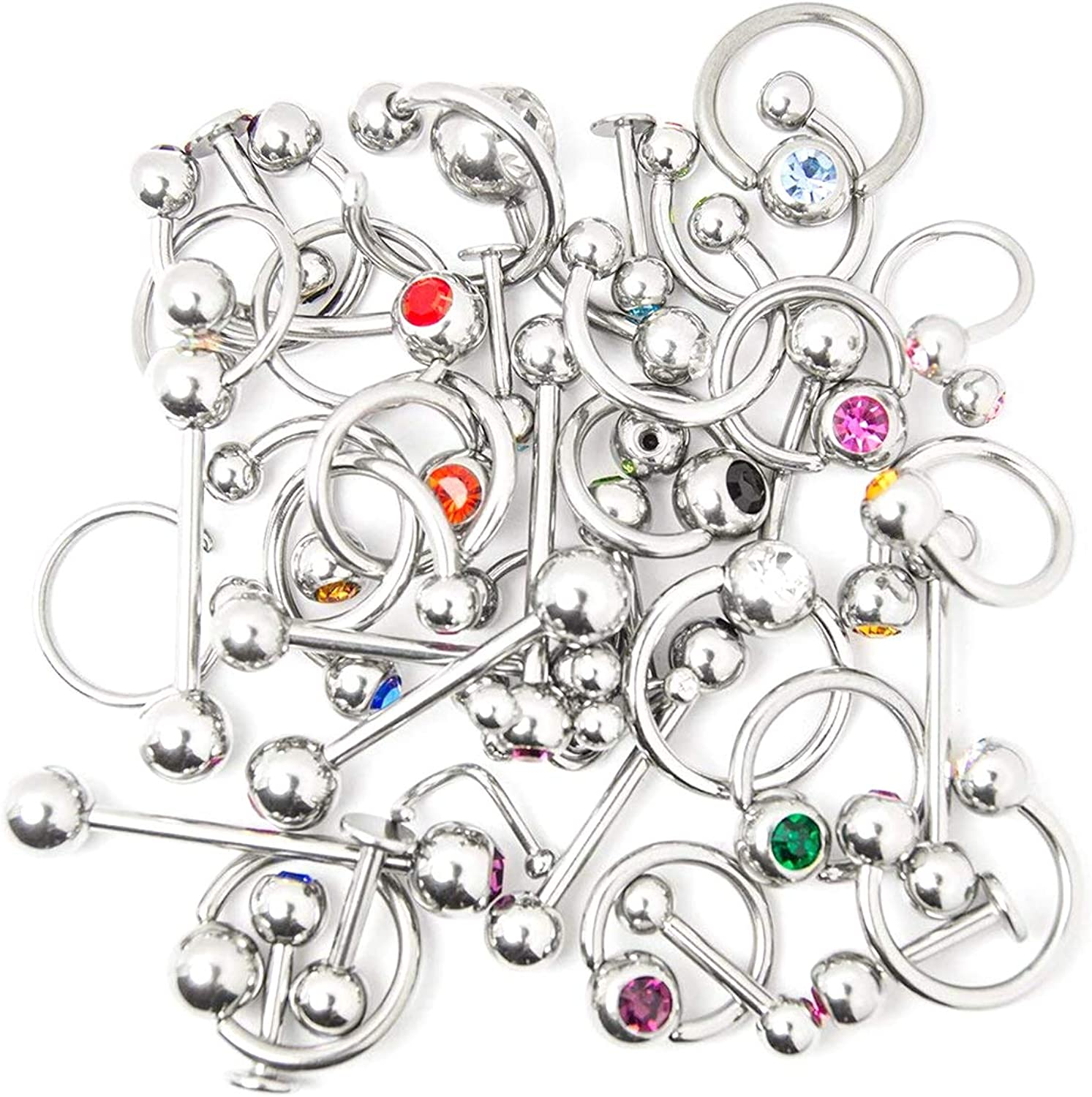 Overstock Body Jewelry - 40 Pieces Mixed 316L Surgical Steel - Lip, Ear, Nipple, Tongue