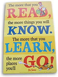 Classroom Decor Dr. Seuss 2-Sided Reading Poster - The More You Read/Think Left and Think Right