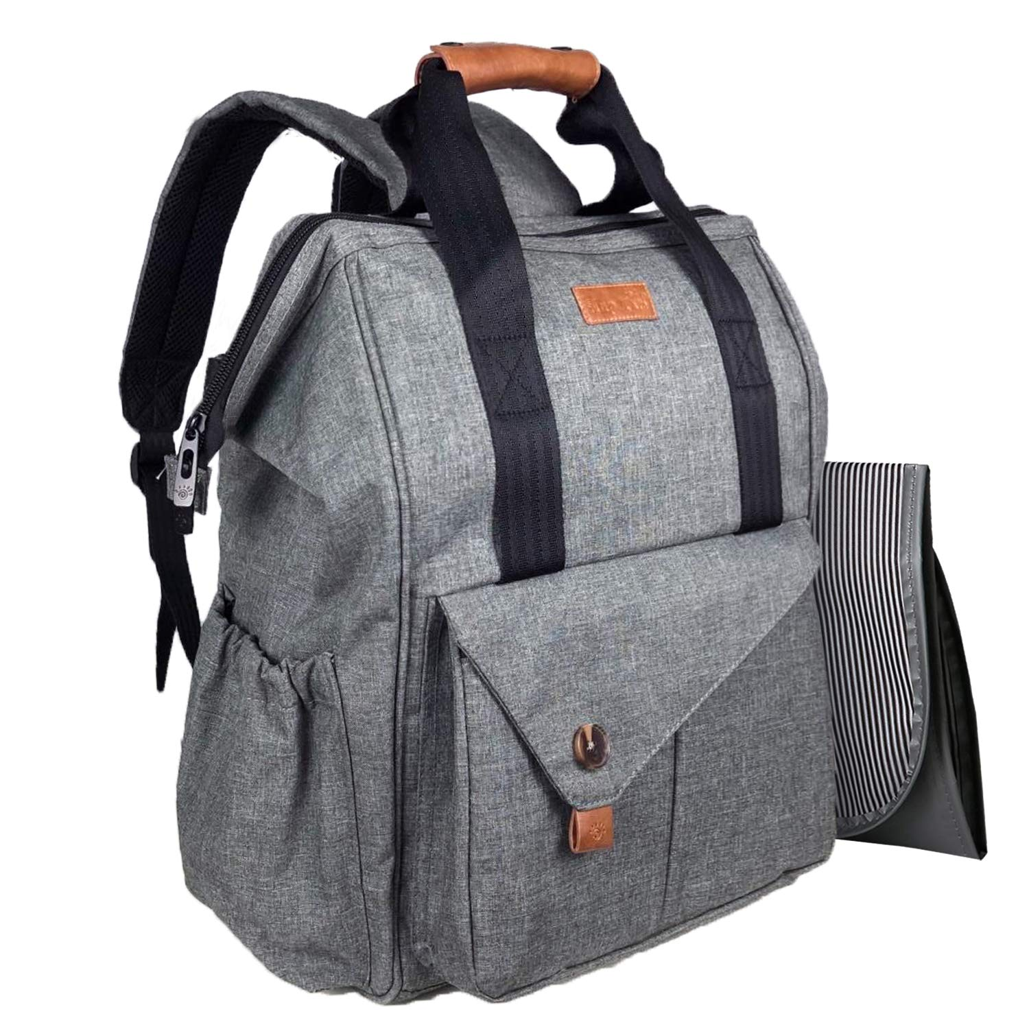 HapTim Multi-function Baby Diaper Bag Backpack Stroller Straps- Insulated Pockets- Changing Pad Included, Nylon Fabric Large Capacity Waterproof Nappy Changing Bag for Moms & Dads(Gray-5279)