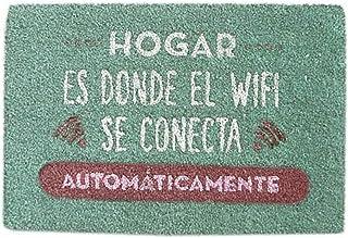 comprar comparacion Hogar y Mas Felpudo Original de Coco Natural para Entrada, Felpudos Entrada casa Originales y Divertidos 70x40 cm - Azul