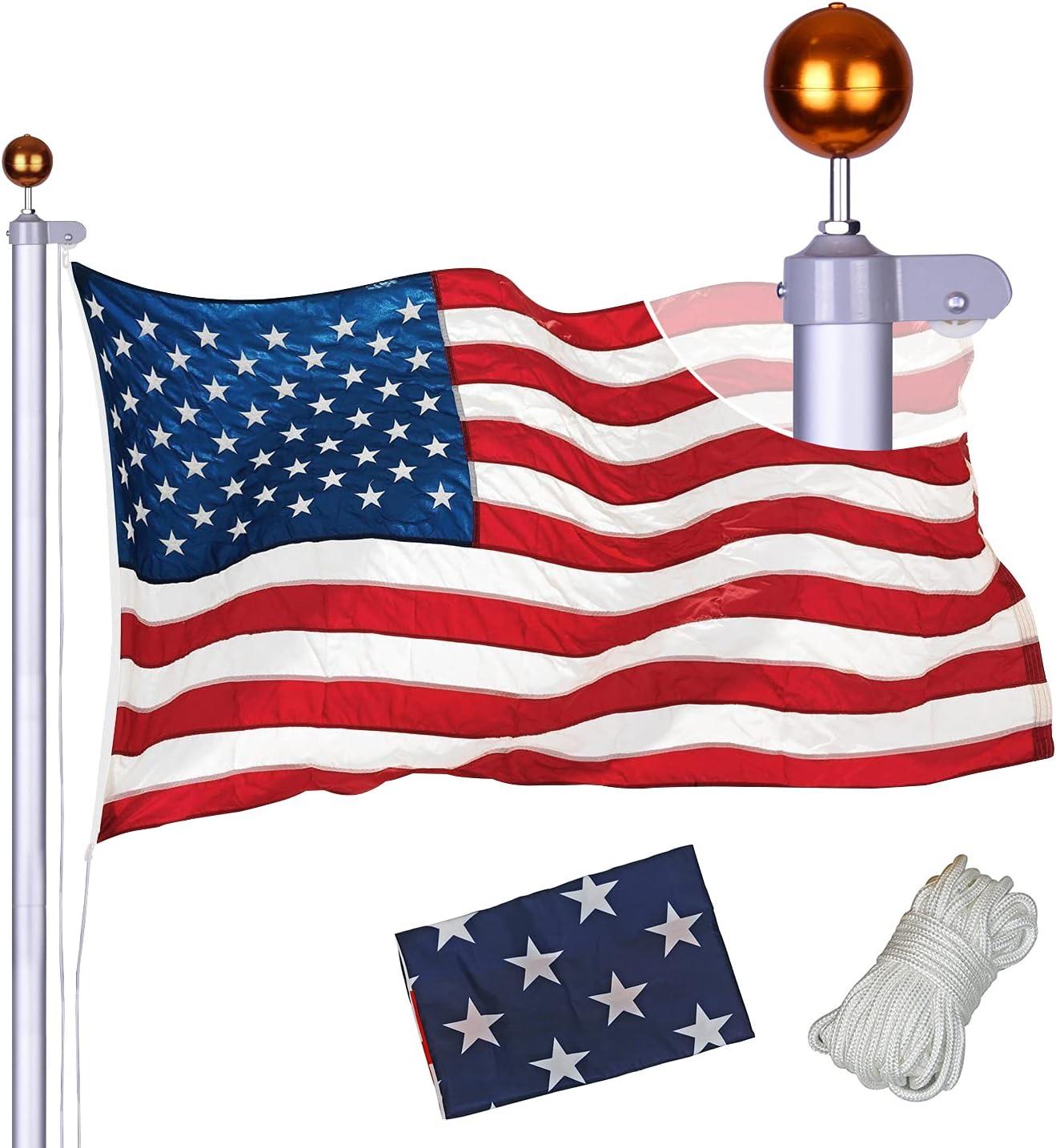 Sectional Flag Pole Kit 好評受付中 高額売筋 Extra Duty Heavy Thick Aluminum Flagpol