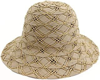 SXQ Summer Handmade Straw Hat Women's Outdoor Travelling Wide-brimmed Beach Hat Ladies' Sun Hat With Flower Decoration Foldable Sunproof Straw Hat UV Protective Panama Hat Visor For Vocation Seaside B