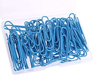 PTC Office 60PCS Colored Plastic Coated Paperclips Metal Bookmark Memo Note Paper Clip, 2-inch, (Blue)