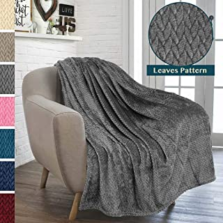 PAVILIA Luxury Soft Plush Dark Grey Throw Blanket for Sofa, Couch   Velvet Fleece Chevron Textured Throw   Cozy Lightweight Microfiber, Reversible Charcoal Gray Blanket   All Season   50 x 60 Inches