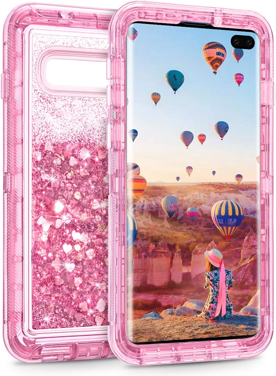Coolden Case for Galaxy S10 Plus Cases Protective Glitter Case for Women Girls Cute Bling Sparkle Quicksand Heavy Duty Cover Hard Shell Shockproof TPU Case for Samsung Galaxy S10 Plus, Pink