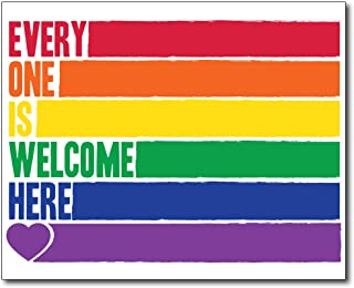 Best Everyone Is Welcome Here Print - Inclusion Poster Wall Print LGBT Pride School Office Uni Dorm Wall Decor Rainbow Lesbian & Gay Flag Design (Frame Not Included) Review