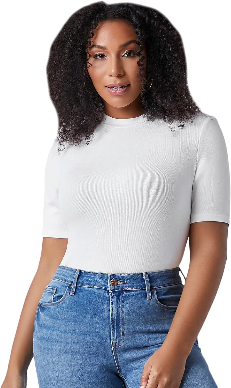 Floerns Women's Plus Size Basic Short Sleeve Round Neck Rib Knit Tee Shirts