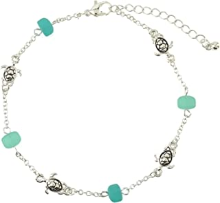 Elosee Sea Glass Bead Sealife Link Anklet