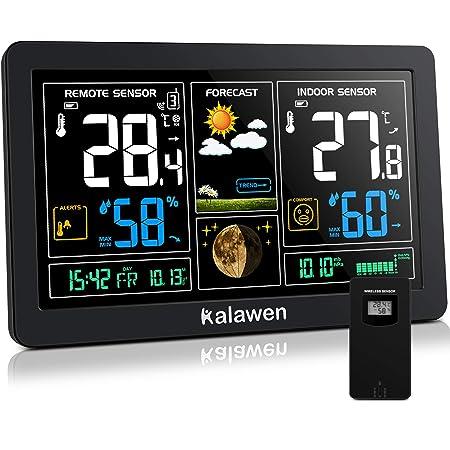 Kalawen Stazione Meteo Automatica Digitale Wireless Meteorologica con Ampio Schermo LCD Display Sveglia Tempo Data Temperatura umidità Previsioni di Tempo con Sensore Esterno Wireless