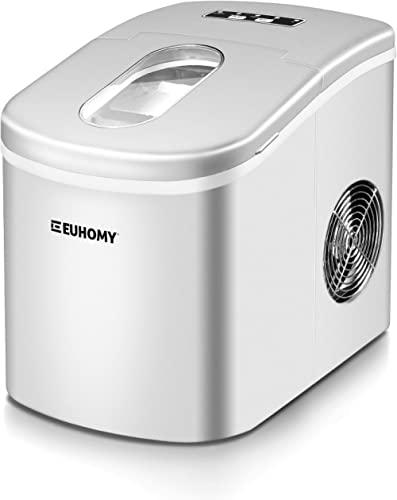 Euhomy Ice Maker Countertop, 26lbs/24H Portable Compact ice maker machine, 9 Ice cubes ready in 8 Mins, with Ice Scoo...