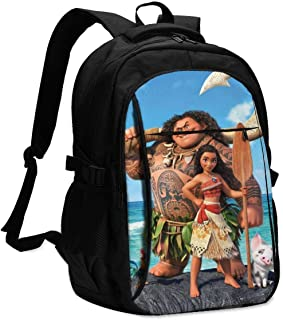 Moana Mochila Travel Laptop Backpack with Puerto de Carga USB Headphone Interface College Bookbag para Mujeres Hombres niños Business Travel Anti Theft Backpack