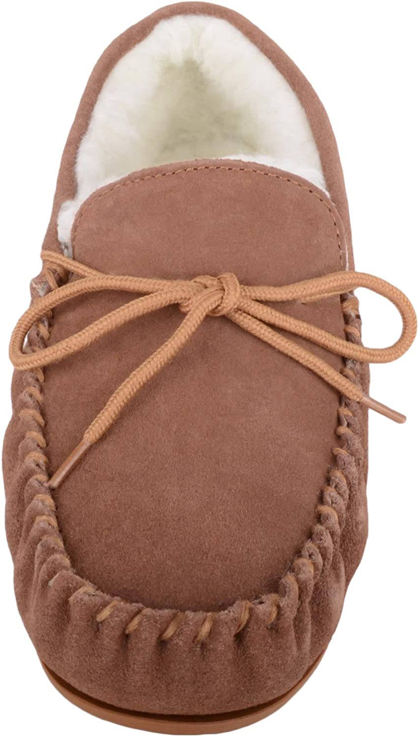 SNUGRUGS Womens Luxury Lambswool Suede Moccasin//Slipper with Rubber Sole