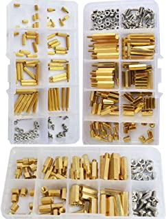 M2 M3 M4 Hex Brass Standoff Hexanonal Threaded Pillar Spacer Mounts Screw Nut Bolt Motherboard Standoffs Assortment Kit Prototyping Accessories for PCB,Quadcopter Drone,Computer Circuit Board 360pcs