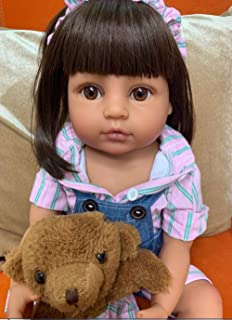 Zero Pam 22inches Reborn Baby Dolls Silicone Full Body Bathable Anatomically Correct Long Hair Girl 3 Months with Bear Toys Denim Bib and Pink Shirt (Biracial Girl)