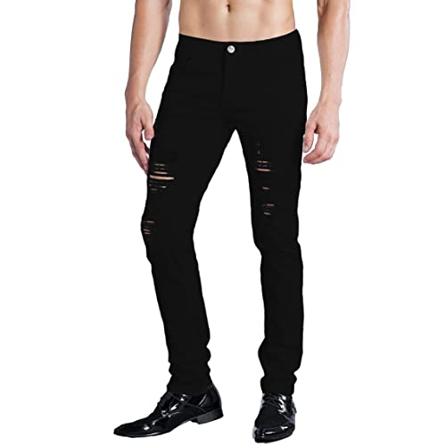 9a51e70b1 ZLZ Men's Ripped Skinny Distressed Destroyed Slim Fit Stretch Biker Jeans  Pants with Holes