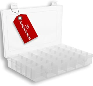 Plastic Organizer Box with Dividers | 36 Compartment Organizer | Jewelry Organizer Box | Clear Organizer Box for Bead Stor...
