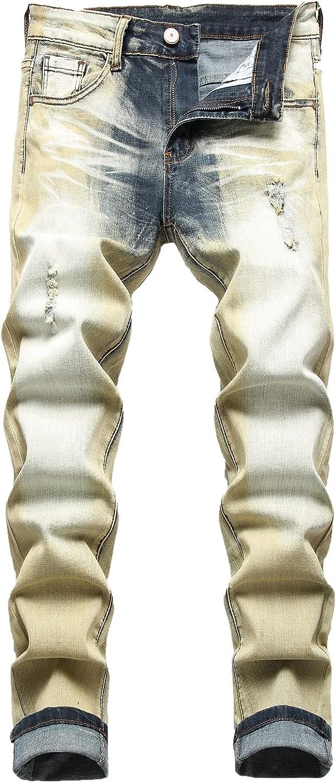JUNBAOSS Men's Ripped Jeans Slim Fit Stretch Skinny Jeans for Men, Distressed Straight Leg Fashion Comfort Flex Waist Pants