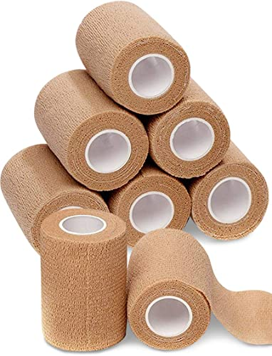 4 Inch Wide Self Adherent Cohesive Wrap Bandages (8 Pack Bundle)| 5 yards Self Adhering Bandage Wrap| Brown Athletic Tape for Wrist, Ankle, Hand, Legs| Premium-Grade Medical Stretch Wrap