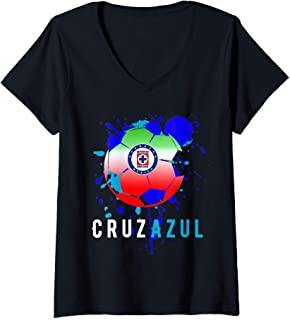 Womens Cruz Azul Mexican Soccer Team With Dabbing Blue Paint V-Neck T-Shirt