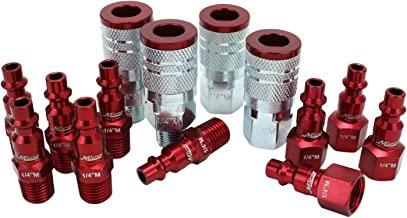 "ColorFit by Milton Coupler & Plug Kit – (M-Style, Red) – 1/4"" NPT, (14-Piece)"