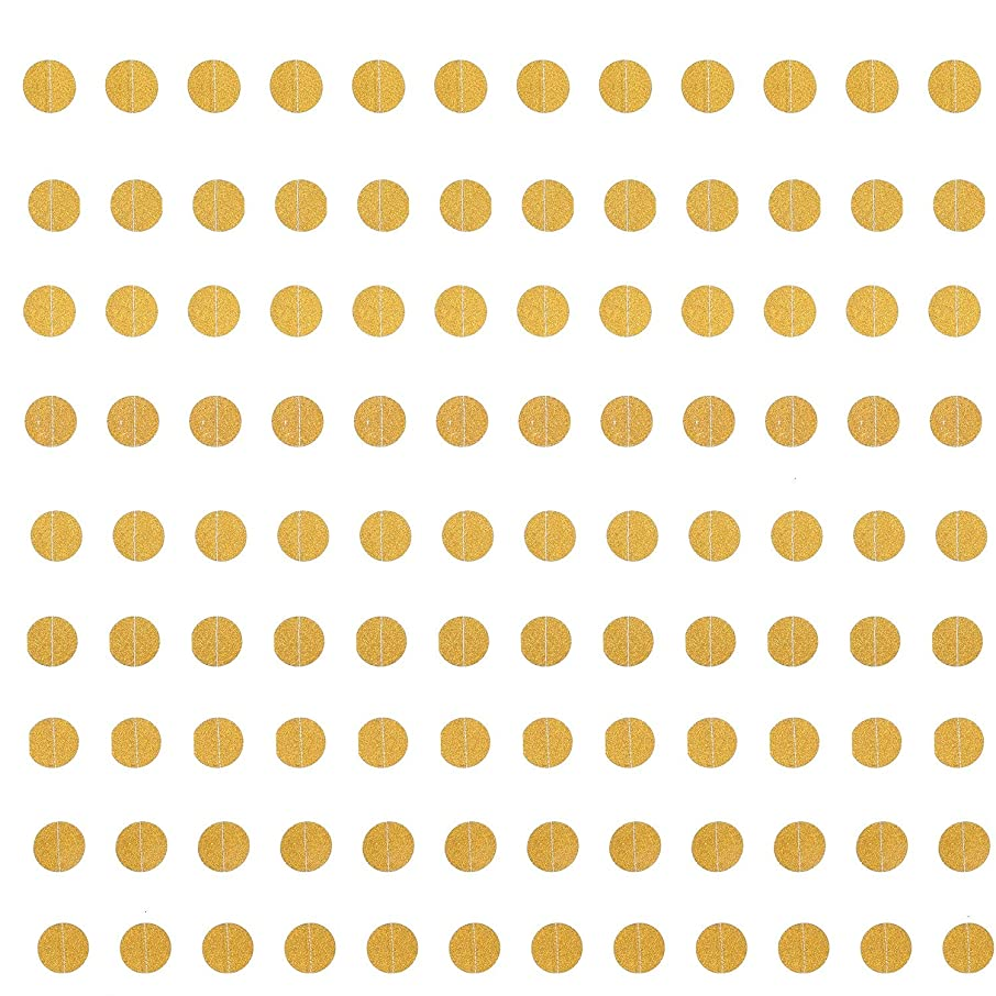 Monrocco 4 Packs Gold Circle Dots Glitter Paper Garland Banner Sparkling Party Supplies Background Decor for Party Wedding