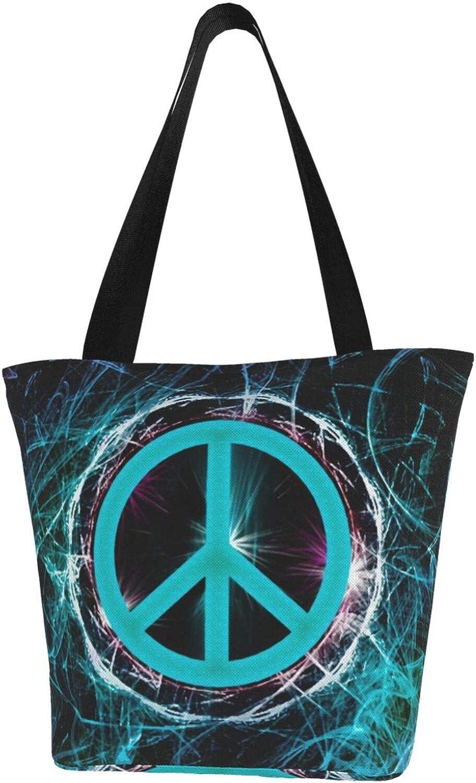 Green Fantasy Peace Sign Art Themed Printed Women Canvas Handbag Zipper Shoulder Bag Work Booksbag Tote Purse Leisure Hobo Bag For Shopping