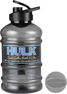 DOVEAZ® Hulk Sports Gallon Plastic Water Bottle 1.5L with Mixer Ball and Strainer | BPA Free (Transparent Black)