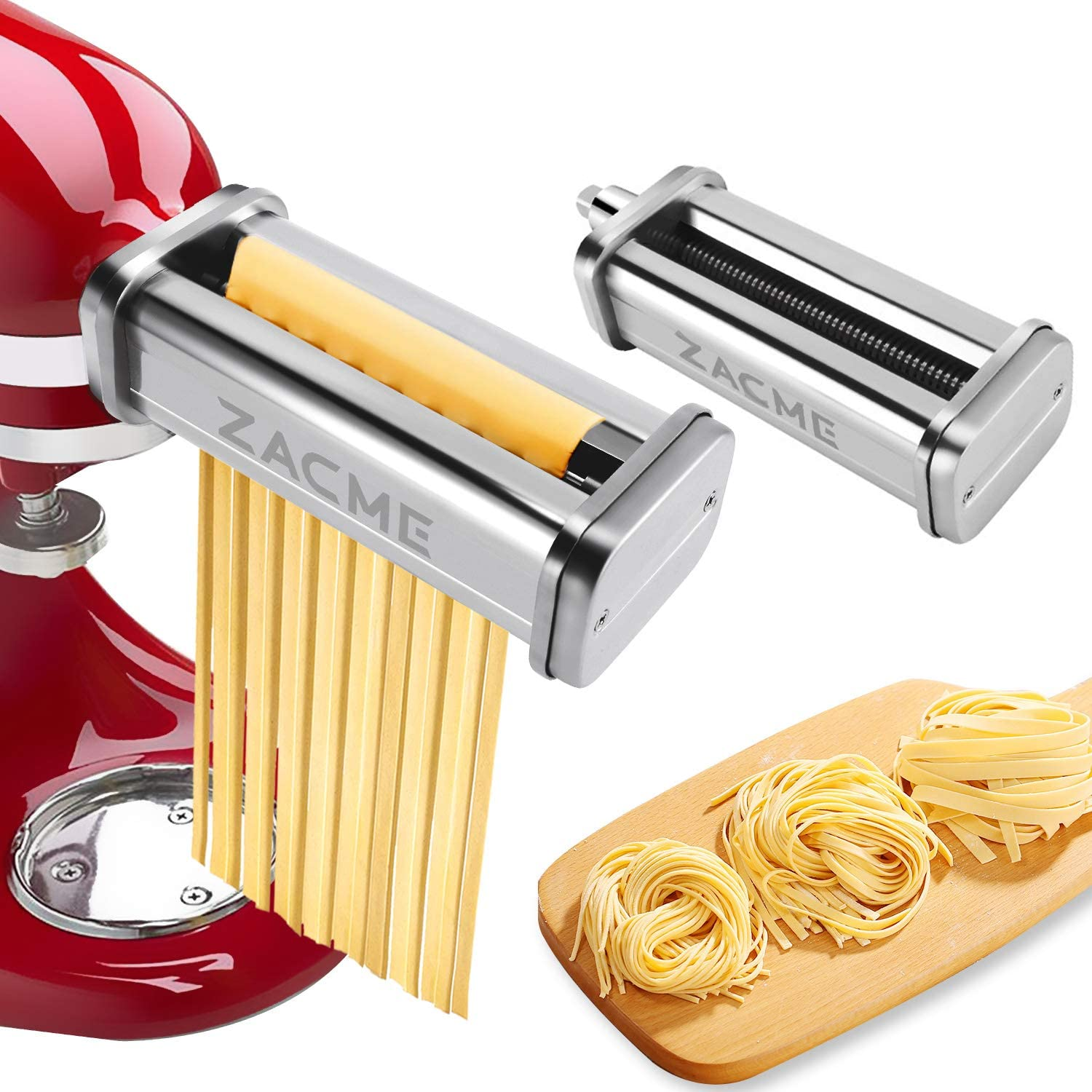 Pasta Cutter Set for KitchenAid Stand Mixers, Washable Stainless