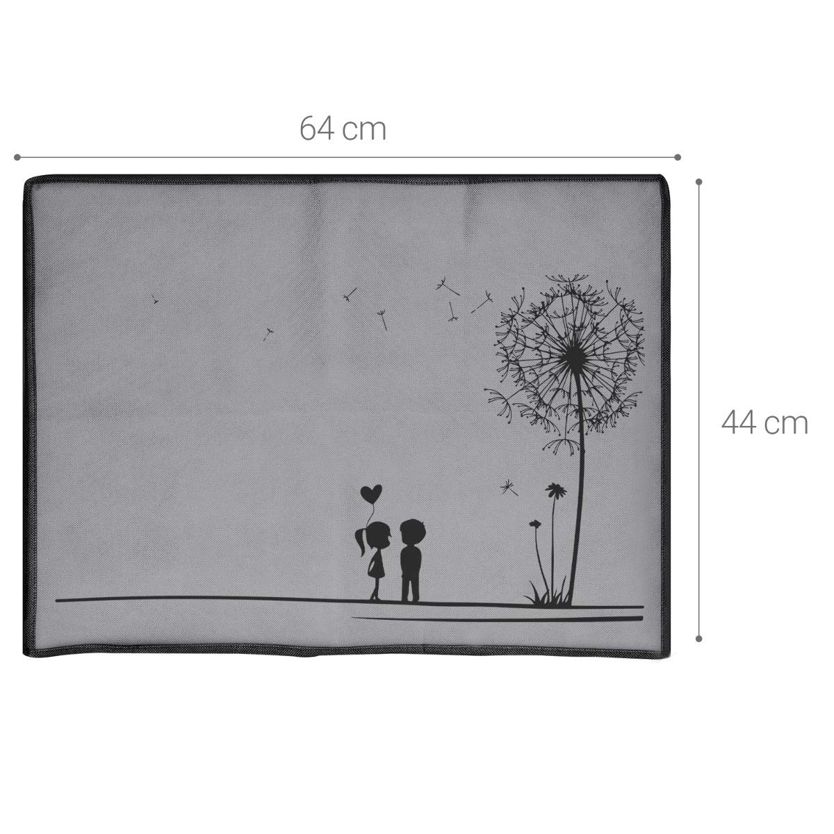 Dandelion Love Black//Light Grey kwmobile Monitor Cover Compatible with 24-26 Monitor Dust Monitor Case Screen Display Protector