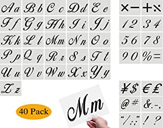 Letter Stencils for Painting on Wood - Alphabet Stencils with Calligraphy Font Upper and Lowercase Letters - Reusable Plastic Art Craft Stencils with Numbers and Signs - Set of 40 PCS 8.27