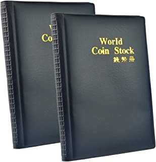 Wobe 2 Pack of 120 Pockets Coin Holder Collection Coin Storage Album Book for Collectors, Money Penny Pocket (Black) 10 Sh...