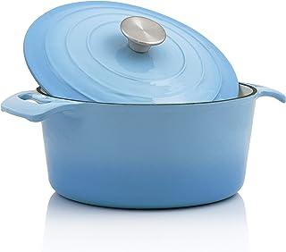 BBQ-Toro - Cocotte I 4,0 litros I Ø 24 cm I Olla con Tapa y Asas I Hierro Fundido esmaltado I Apto para lavavajillas e inducción I Color Azul