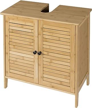 EUGAD Mueble de Baño Armario Bajo Lavabo Mueble para Debajo de Lavabo Mueble Lavabo de Baño Almacenamiento con 2 Puertas Bamb