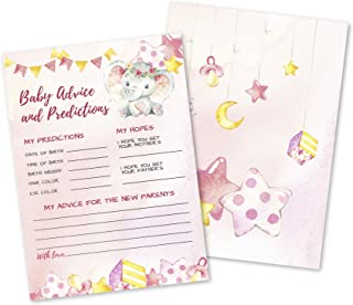50 Deluxe Pink Elephant Advice and Predictions Cards- Large Double Sided 5 x 7 Inch for Baby Girl Shower Game, New Parent ...