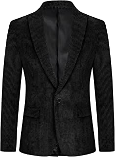 YOUTHUP Mens Slim Fit Blazer 1 Button Casual Corduroy Suit Jacket Chic Casual Blazers