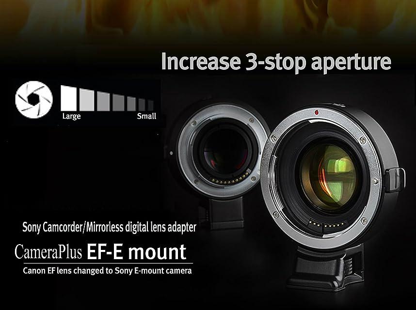 CameraPlus - Adaptador de enfoque automático Focal Reductor (adaptador de conversión Full-Frame Focal Reductor SpeedBooster) para Canon EOS EF en Sony E-mount - Sony Alpha a6000 a5100 A5000 A3000 NEX-7 NEX-6 NEX-5N NEX-5R 5T NEX-NEX- 5 NEX-3 NEX-3N NEX-F3 NEX-VG30 VG20 VG10 VG900 C3 FS700 (AT-EF E-adaptador Speed Booster)