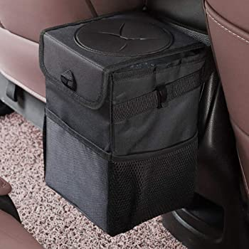 mixigoo Car Trash Garbage Can Bag - 12L Large Capacity Car Trash Can Bin with Lid and Storage Pockets Leak-Proof … (6L)