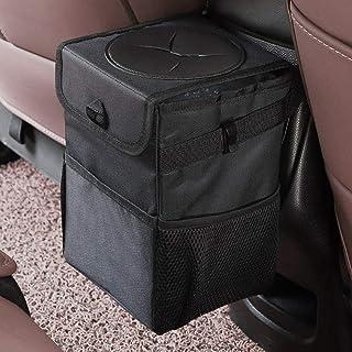 mixigoo Car Trash Garbage Bag Can - Car Trash Can with Lid and Storage Pockets Leak-Proof Vinyl