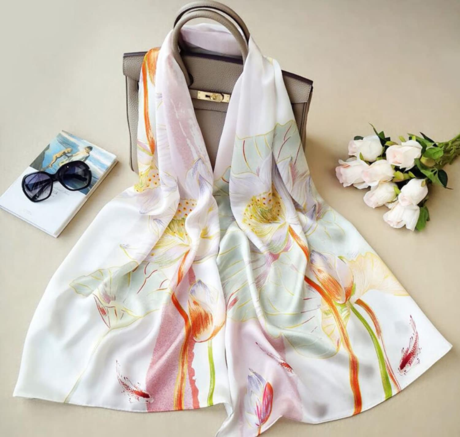 GAO Silk scarf Print Embroidery Embroidery 100% silk scarf Satin scarf Women's long wild silk shawls Spring and summer beach towels (Length  175cm, Packing of 1) (color   B)