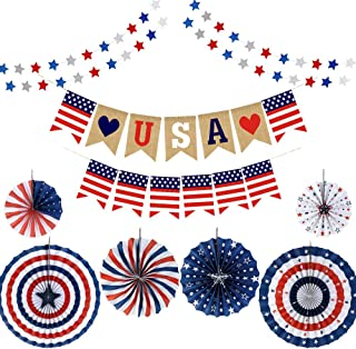 YBB Fourth of July Patriotic Decorations, Red White Blue Hanging Paper Fans, Star Streamer Garland and USA Bunting Banner Swallowtail Flags, Veterans Day Decoration Set