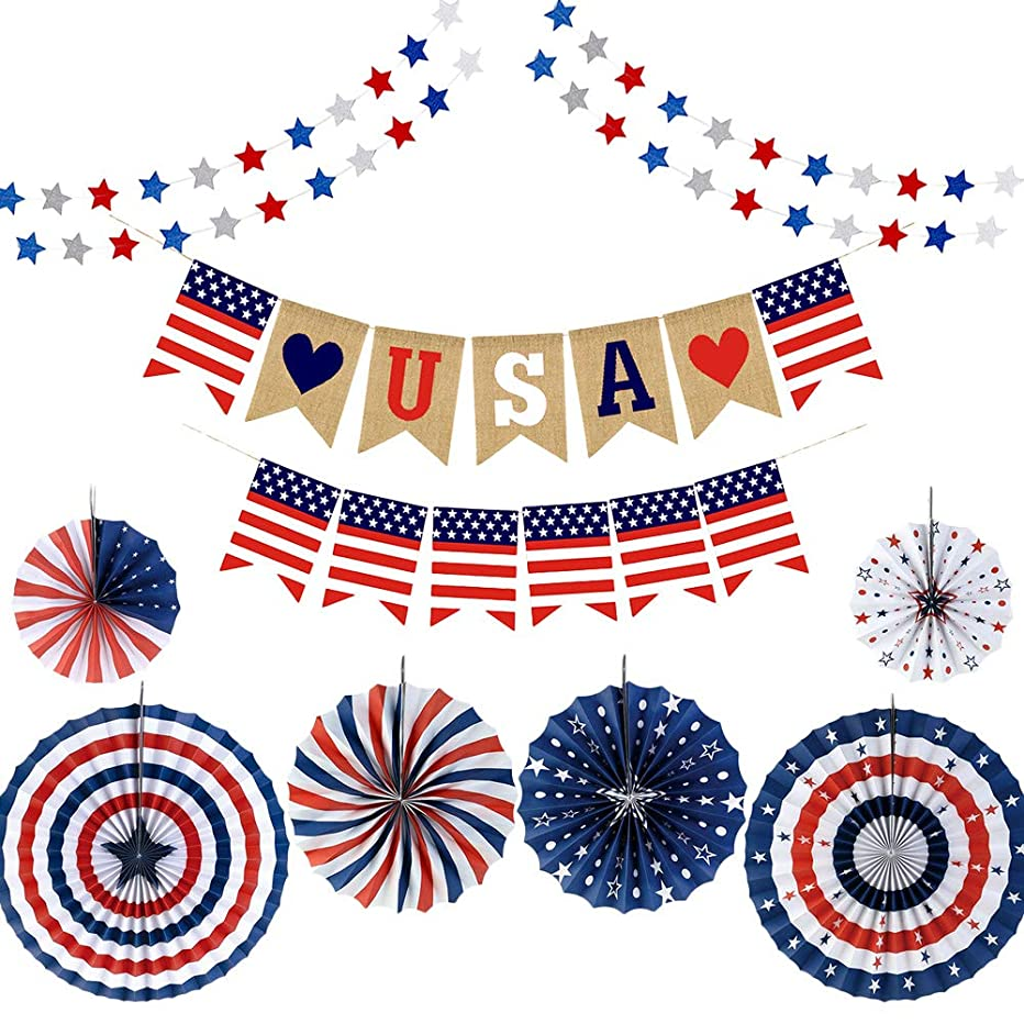 YBB Fourth of July Patriotic Decorations, Red White Blue Hanging Paper Fans, Star Streamer Garland and USA Bunting Banner Swallowtail Flags, Independence Day Party Supplies Favor Decoration Set