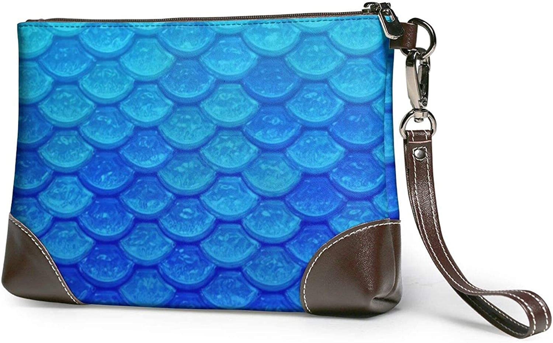 Ocean Sea Blue Mermaid Fish Scale Printed Women'S Wristlet Handbags Purses Evening Leather Clutch Bags