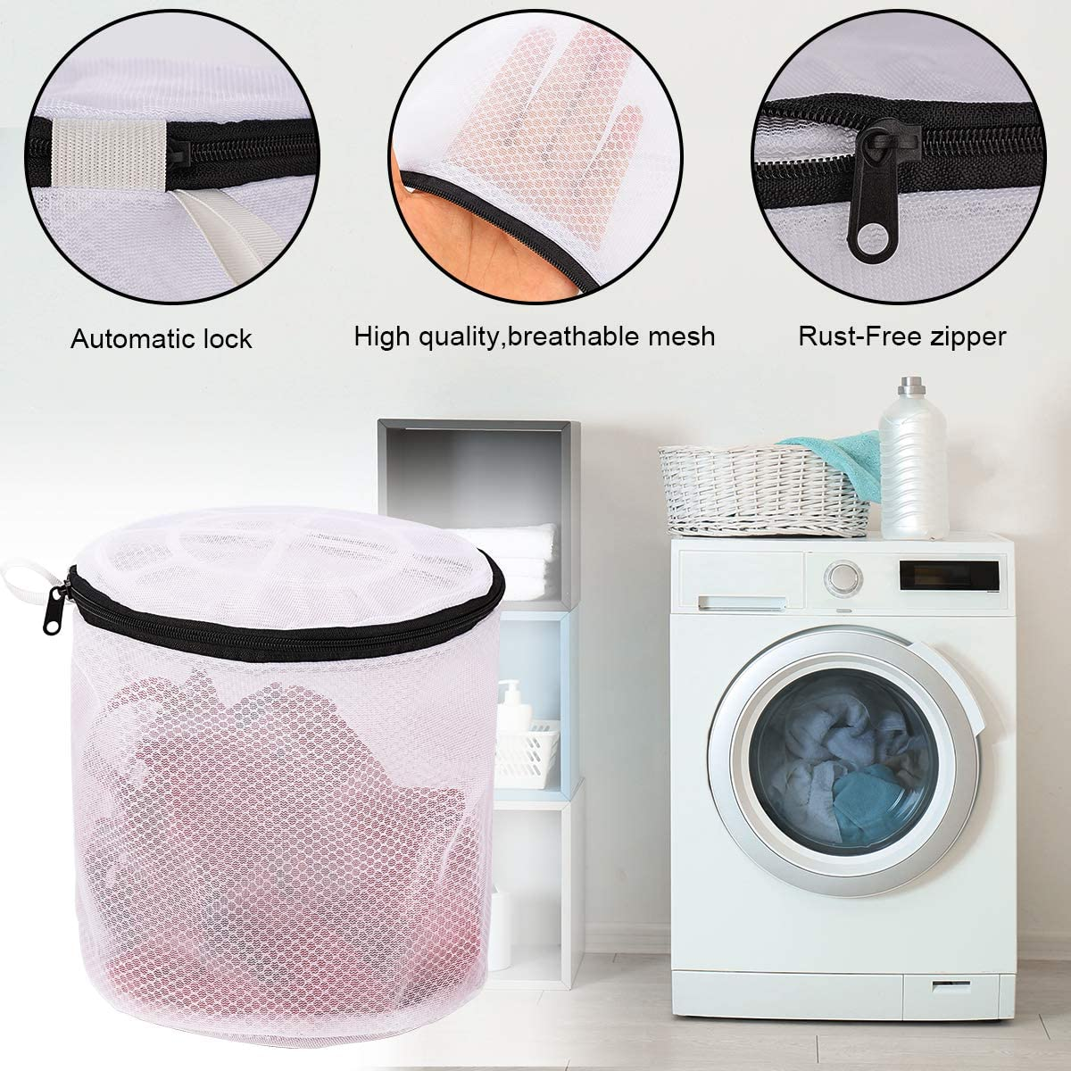 Bra Bag, 3 Set YLWEFT Bra Washing Bags for Laundry Bra Washer Protector Sock Bag for Washing Machine Underwear Washing Bag Mesh Laundry Bag Lingerie Bags for Laundry