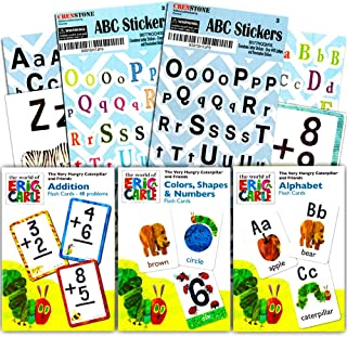World of Eric Carle Flash Cards Bundle ~ ABC, Numbers, Colors, Shapes, and Separately Licensed Crenstone Alphabet Stickers
