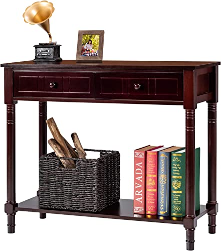 high quality Giantex 2-Tier Console lowest Table with 2021 Drawers and Storage Shelf Hall Table Vintage Sofa Table for Entryway, Foyer, Living Room, Bedroom, Office Entryway Table (Brown) online sale