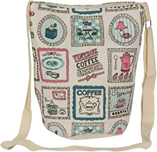 STRIPES Diwali Offer Cafe Design Cotton Fabric Waterproof Sling Bag for Women/Girls